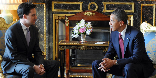 US President Barack Obama (R) meets Leader of Britain's opposition Labour Party Ed Miliband at Buckingham Palace, in central London, on May 24, 2011. US President Barack Obama basked Tuesday in the royal pageantry of a state visit to Britain, given an extra dash of glamour by a brief encounter with Prince William and his new bride Catherine. The president and his wife Michelle were welcomed by Queen Elizabeth II and a 41-gun salute in the gardens of Buckingham Palace at the start of a two-day visit mixing pomp with serious diplomacy.  AFP PHOTO / JEWEL SAMAD (Photo credit should read JEWEL SAMAD/AFP/Getty Images)