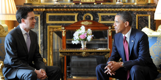 LONDON, ENGLAND - MAY 24:  US President Barack Obama holds a meeting with Labour leader Ed Miliband at Buckingham Palace on May 24, 2011 in London, England. The 44th President of the United States, Barack Obama, and his wife Michelle are in the UK for a two day State Visit at the invitation of HM Queen Elizabeth II. During the trip they will attend a state banquet at Buckingham Palace and the President will address both houses of parliament at Westminster Hall.  (Photo by Stefan Rousseau - WPA P