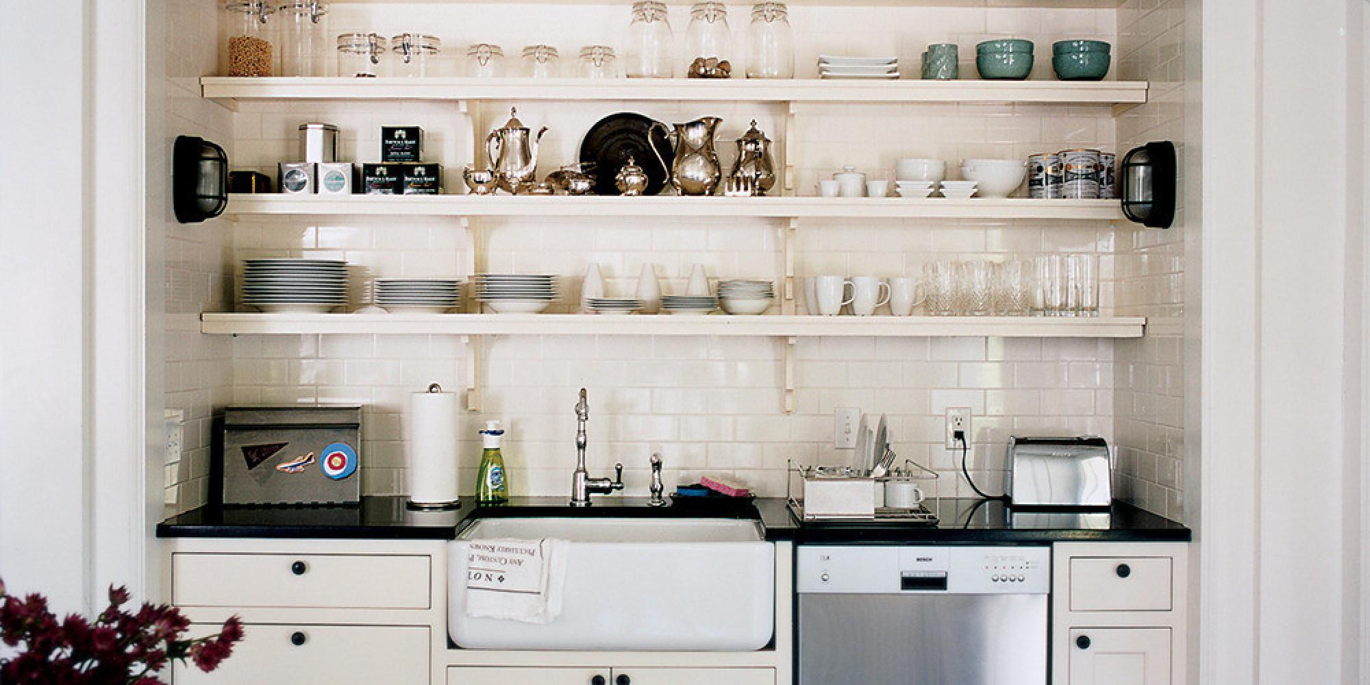 Tiny White and Blue Kitchen