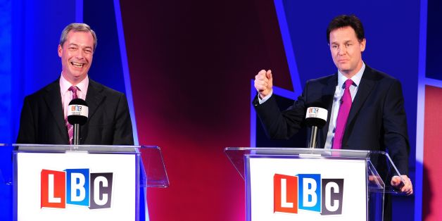 Deputy Prime Minister Nick Clegg (right) and Ukip leader Nigel Farage, hosted by LBC's Nick Ferrari, take part in a debate over Britain's future in the European Union, held at 8 Northumberland Avenue, London.