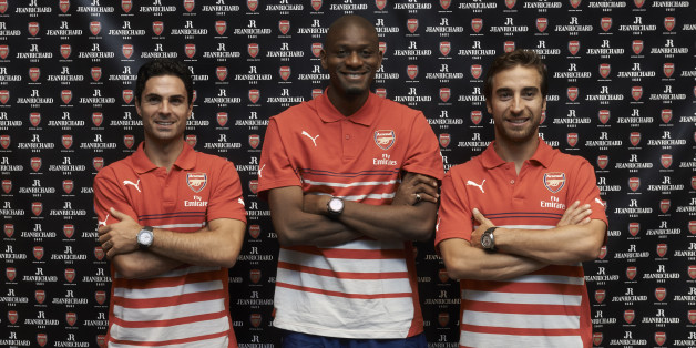 Arsenal players (left to right) Arteta, Diaby and Flamini, who are n New York to play against the Red Bulls