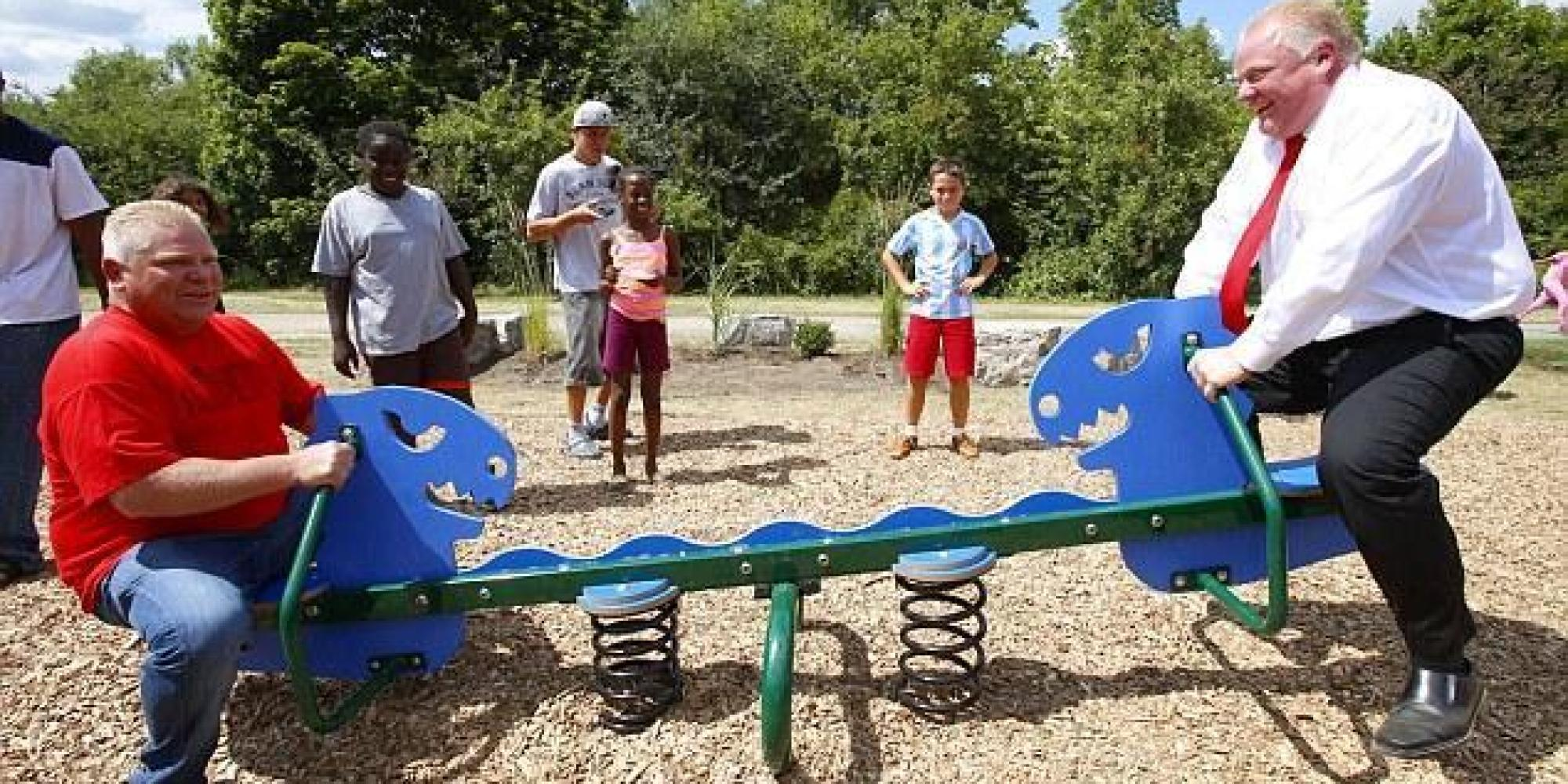 Rob Ford Rides A Seesaw With His Brother In A Toronto Park