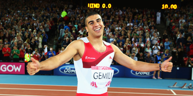 GLASGOW, SCOTLAND - JULY 28:  Silver medalist Adam Gemili of England celebrates after the Men's 100 metres final at Hampden Park during day five of the Glasgow 2014 Commonwealth Games on July 28, 2014 in Glasgow, United Kingdom.  (Photo by Ian Walton/Getty Images)