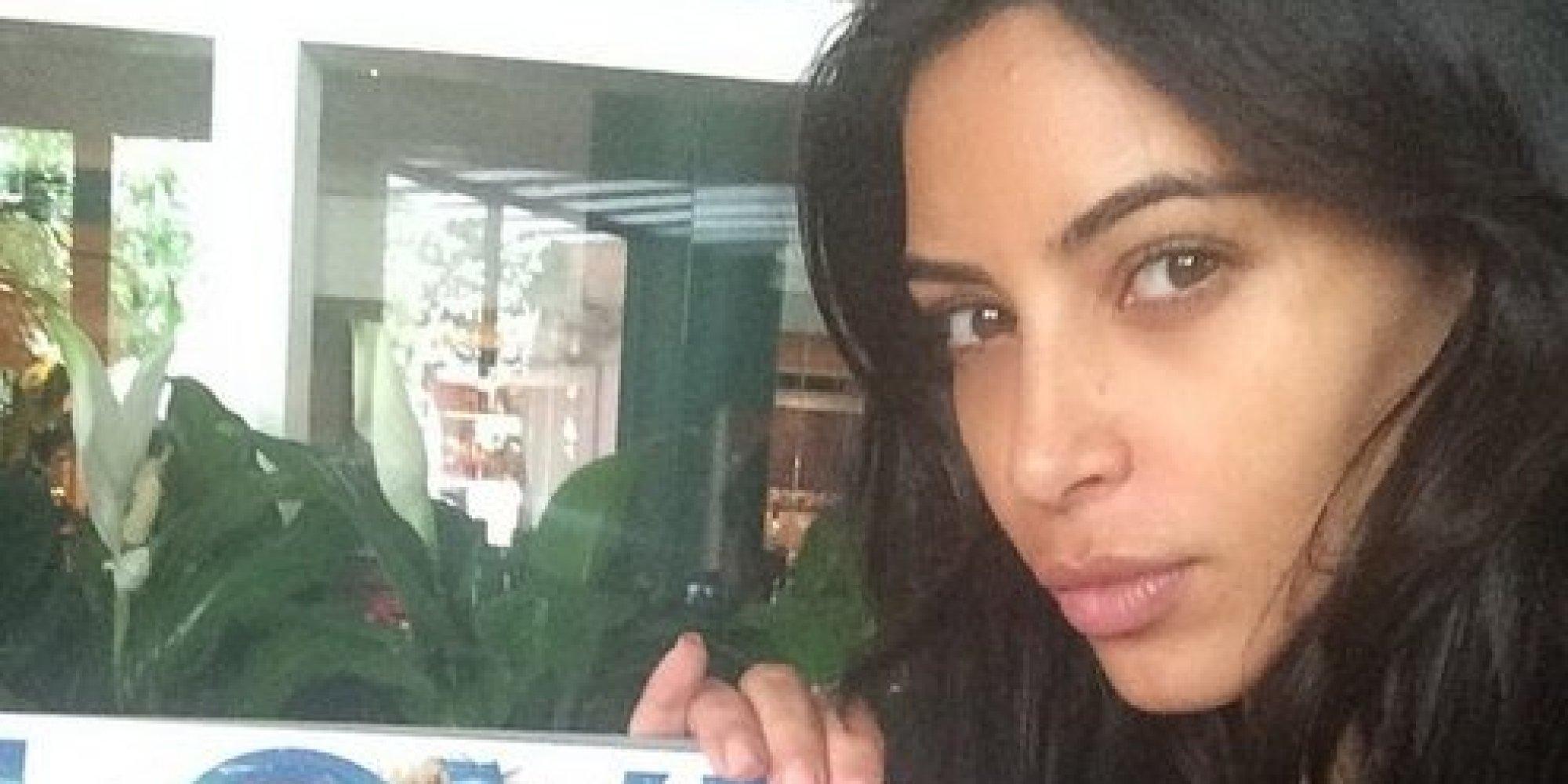 Kim Kardashian Shares Makeup Free Selfie The Rarest Of All - Kim-k-without-makeup
