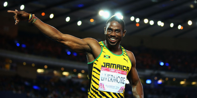 GLASGOW, SCOTLAND - JULY 31:  Bronze medalist Jason Livermore of Jamaica celebrates after the Men's 200 metres Final at Hampden Park during day eight of the Glasgow 2014 Commonwealth Games on July 31, 2014 in Glasgow, United Kingdom.  (Photo by Paul Gilham/Getty Images)