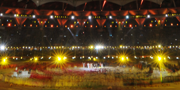 Fireworks explode at the 2010 Commonwealth Games closing ceremony at Jawarharlal Nehru Stadium in New Delhi