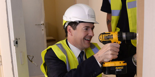 Chancellor George Osborne visits Barratt Homes Help to Buy housing development in Lewisham, south east London, where he helped to screw a hinge onto a door.