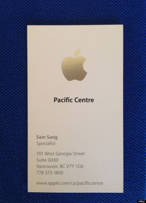 Sam Sung Auctions Off Apple Business Card