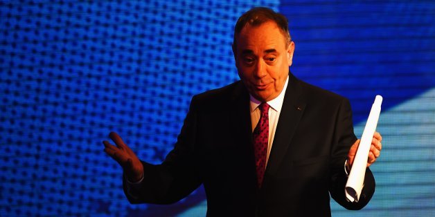 GLASGOW, SCOTLAND - AUGUST 05:  Alex Salmond (pictured) First Minister of Scotland and Alistair Darling chairman of Better Together take part in a live television debate from the Royal Conservatoire of Scotland on August 5, 2014 in Glasgow, Scotland. The two politicians are facing questions in front of 350 people during a live televised debate, they will try and influence voters before the referendum on 18th September when the nation will be asked to vote yes or no to decide whether Scotland sho