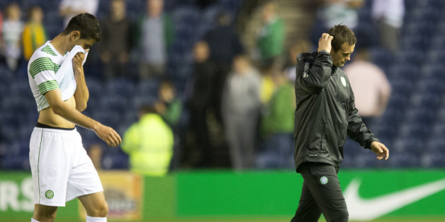 Celtic Nir Bitton and manager Ronny Deila (right) after the Champions League Qualifying at Murrayfield, Edinburgh.