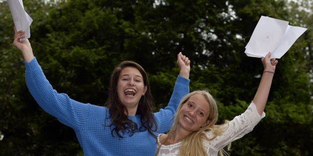 Kate Nissan, 18, who got 2 A* and one A from Newcastle High School in Jesmond with friend Bethany Painter, 18, who got 2 A* and a B, as official figures show that more A-levels were handed the very highest grade this summer, but the overall pass rate fell for the first time in more than 30 years.