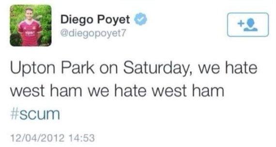 diego poyet west ham tweets