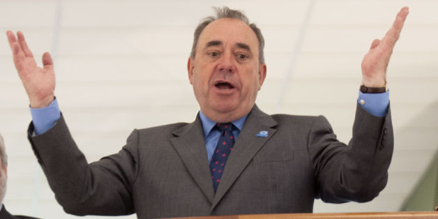Scotland's First Minister Alex Salmond visits the Scottish Youth Theatre in Glasgow, to meet with the cast of Now's The Hour, a show performed by first-time voters aged 16 and 17 about their attitudes towards the forthcoming Scottish independence referendum.