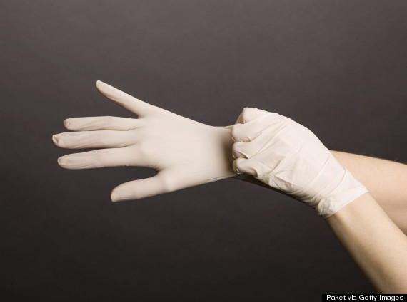latex gloves woman
