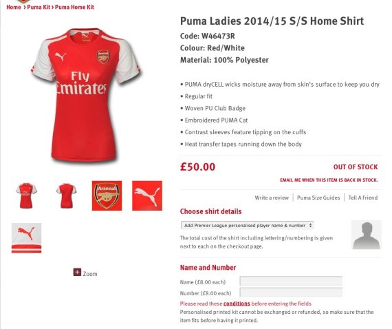 arsenal ladies shirt
