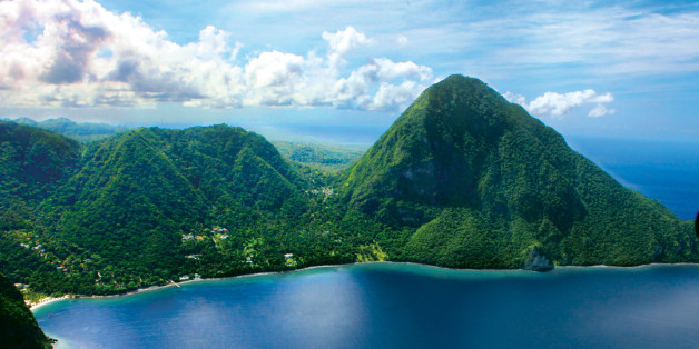 View of volcanic peaks called 'The Pitons' in St Lucia