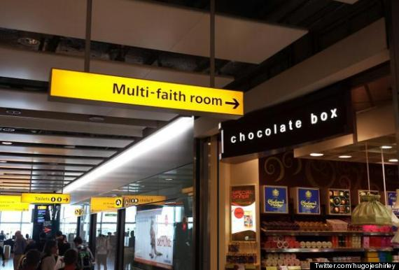airport chocolate faith sign