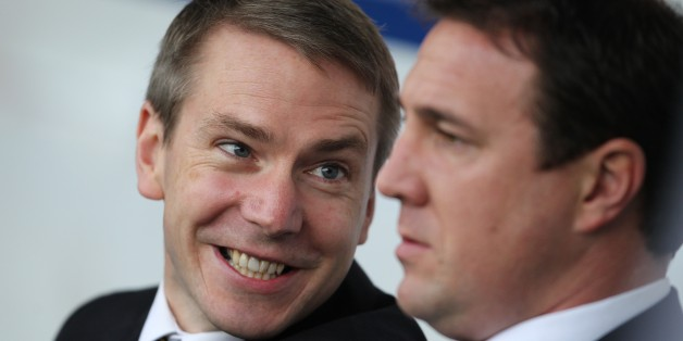 Cardiff City's Player Recruitment Iain Moody (left) talks with Manager Malky Mackay (right)