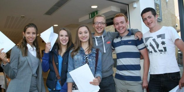 Students from Kingston Grammar pose with their results