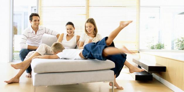 Family enjoying their new home