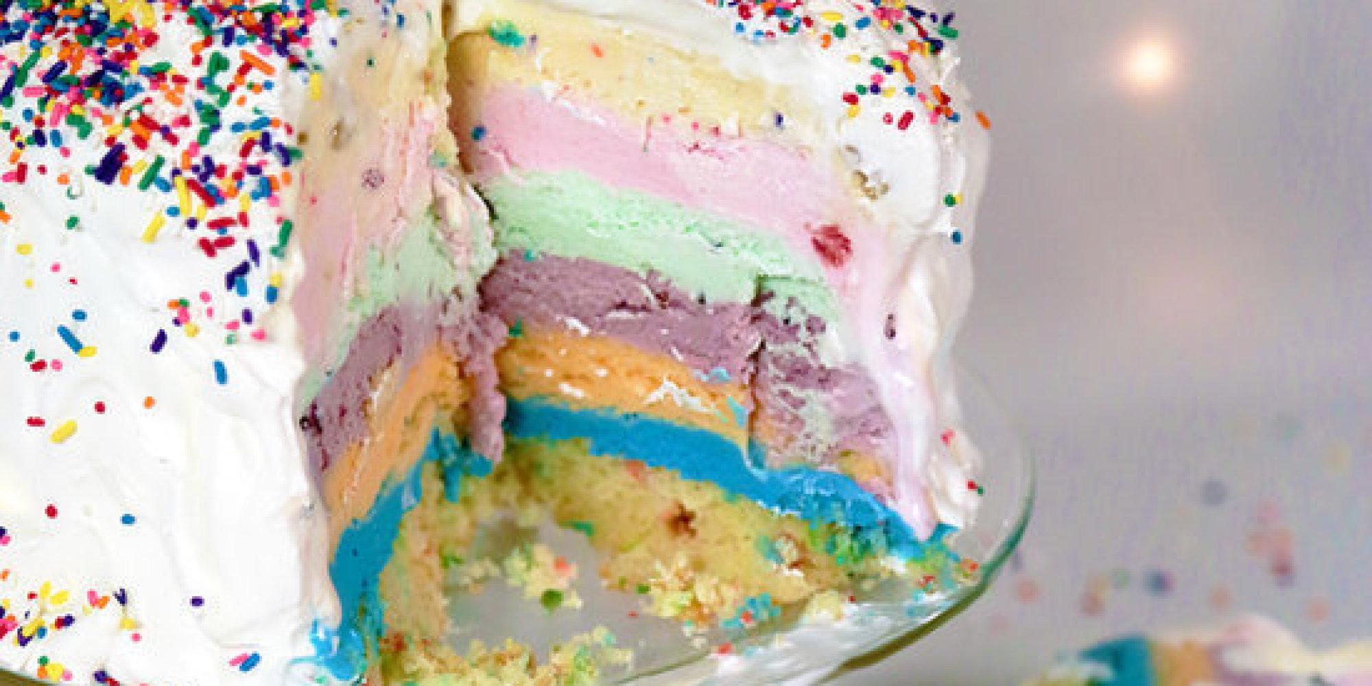 Ice cream rainbow cake recipe