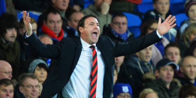 CARDIFF, WALES - DECEMBER 26:  Malky Mackay, manager of Cardiff City shows his frustration during the Barclays Premier League match between Cardiff City and Southampton at Cardiff City Stadium on December 26, 2013 in Cardiff, Wales.  (Photo by Christopher Lee/Getty Images)