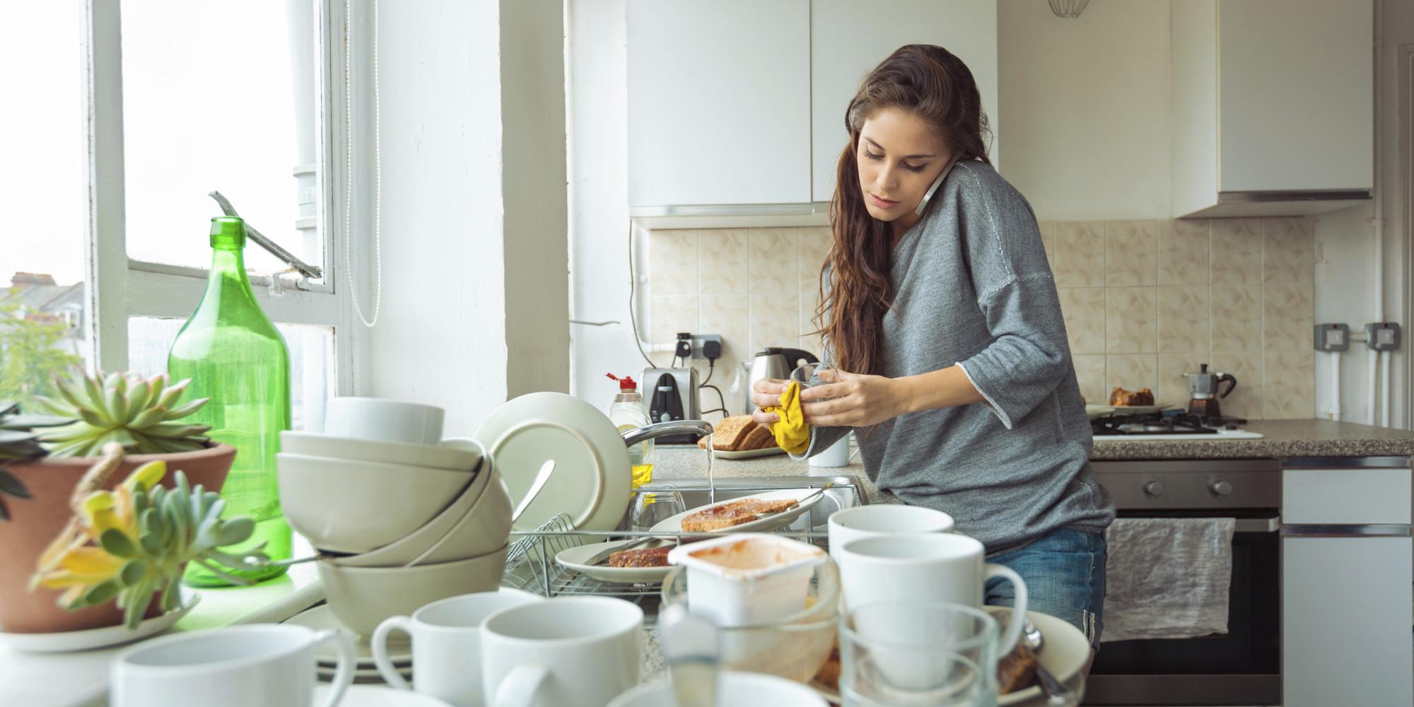 Woman Happy Kitchen Floor