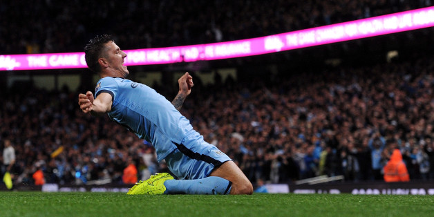 MANCHESTER, ENGLAND - AUGUST 25:  (THE SUN OUT, THE SUN ON SUNDAY OUT) Stevan Jovetic of Manchester City celebrates after scoring the opening goal during the Barclays Premier Leauge match between Manchester City and Liverpool at Etihad Stadium on August 25, 2014 in Manchester, England.  (Photo by John Powell/Liverpool FC via Getty Images)