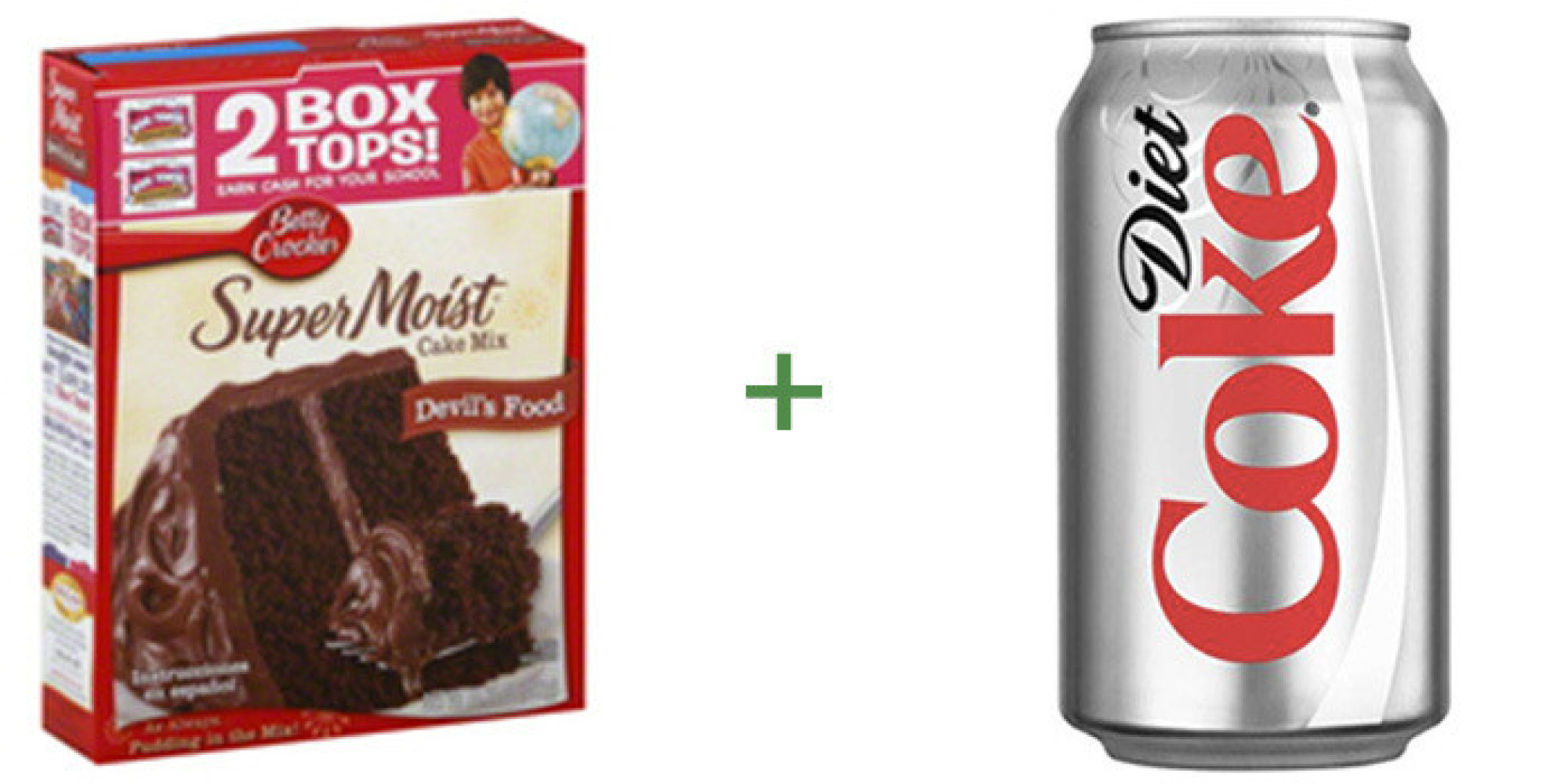 Chocolate cake mix with can of diet coke