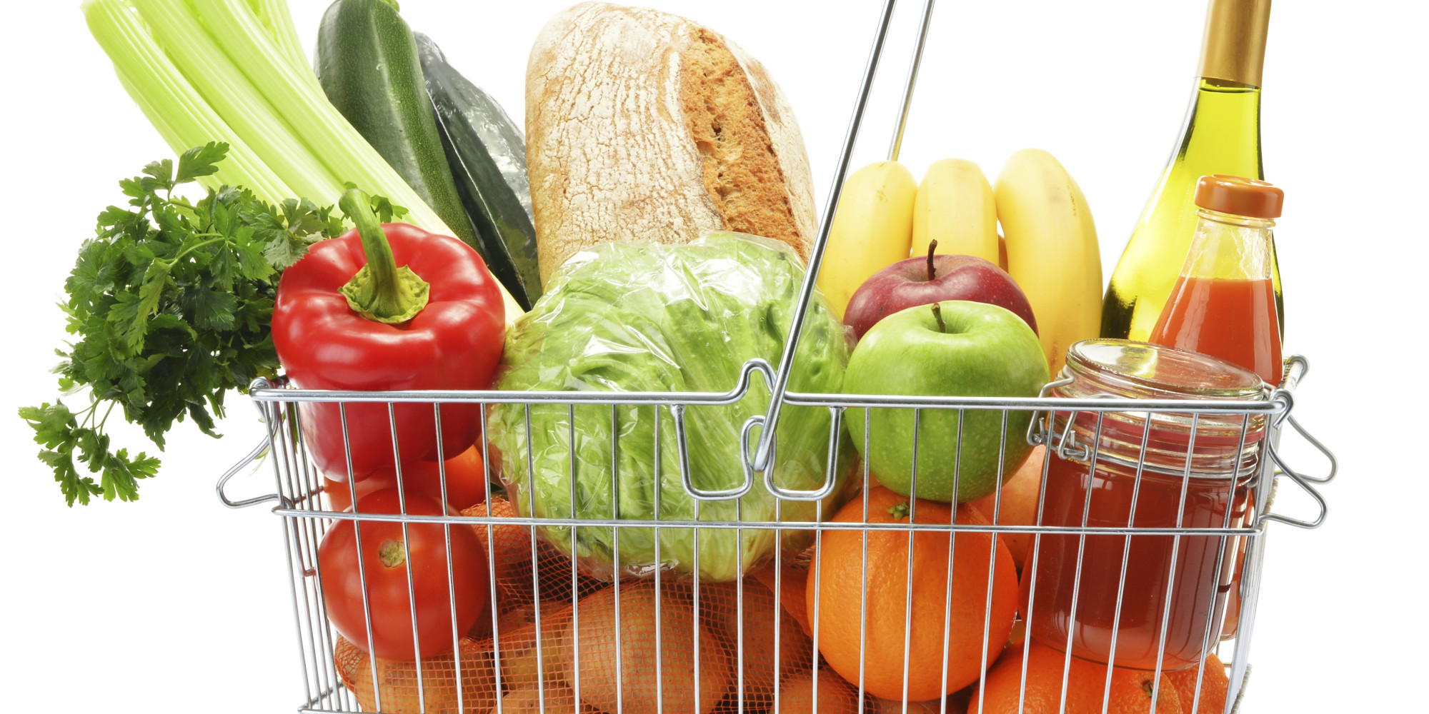 Senior Couple Food Shopping In Supermarket High-Res Stock