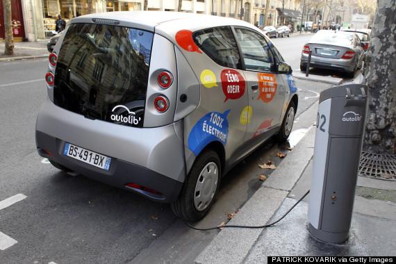 electric car plugged