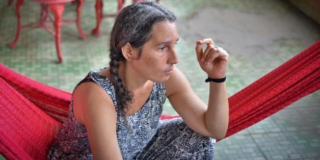 L'actrice cubaine Claudia Rojas, de retour dans son pays après avoir vécu et travaillé plus de 15 ans au Mexique, lors d'une interview à l'AFP, le 2 septembre 2014 à La Havane