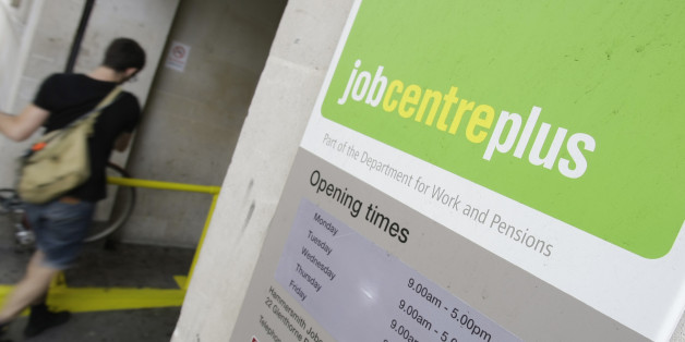 A person enters a job centre in central London, Wednesday, Aug. 12, 2009. Britain's number of jobless increased by 220,000 in the three months to June, pushing the unemployment rate to its highest since 1995 as companies continued to lay off workers amid the recession, official figures showed Wednesday. The Office for National Statistics said the number of people out of work increased to 2.43 million, bringing the unemployment rate to 7.8 percent, while those with a job fell by 271,000 to 28.9 m