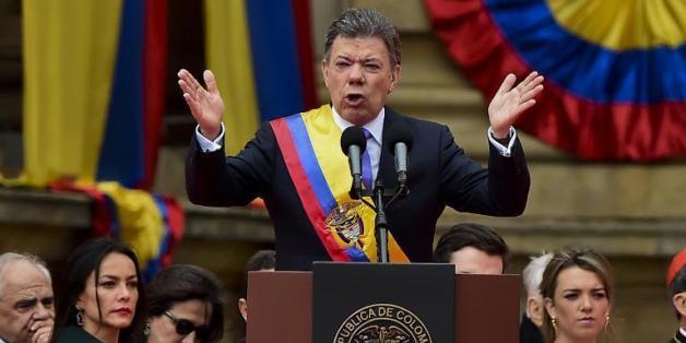 Le président colombien Juan Manuel Santos au Congrès à Bogota le 7 août 2014  © AFP/Archives Luis Acosta