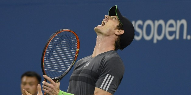 Andy Murray of Great Britain reacts to a point against Novak Djokovic of Serbia during their US Open 2014 men's quarterfinals match at the USTA Billie Jean King National Center September 3, 2014  in New York. AFP PHOTO/Don Emmert        (Photo credit should read DON EMMERT/AFP/Getty Images)