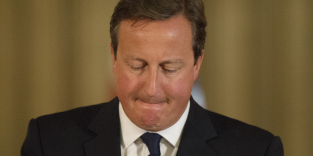 Prime Minister David Cameron speaks at a news conference in Downing Street, central London.