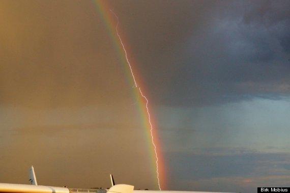 lightning rainbow plane