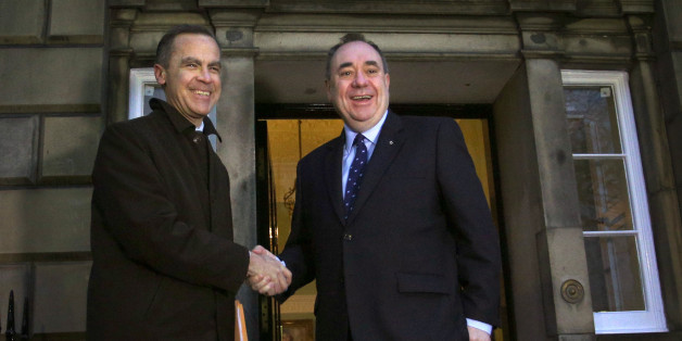 Bank of England governor Mark Carney (left) meeting Scottish First Minister Alex Salmond as he arrives at Bute House in Edinburgh for face-to-face talks for the first time.