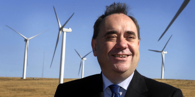 First Minister Alex Salmond during a visit to Crystal Rig wind farm in East Lothian.