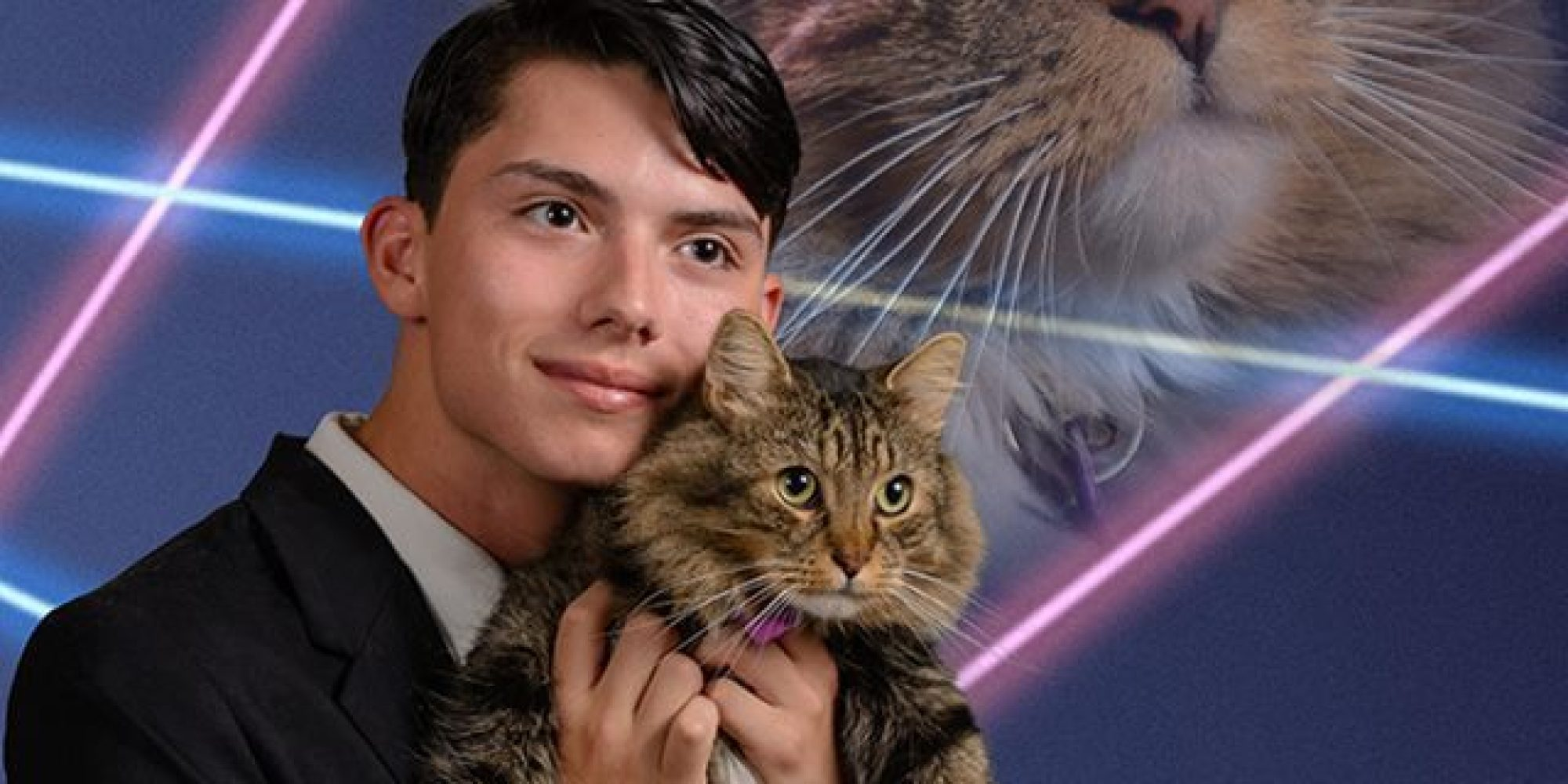Senior Picture With Cat And Lasers