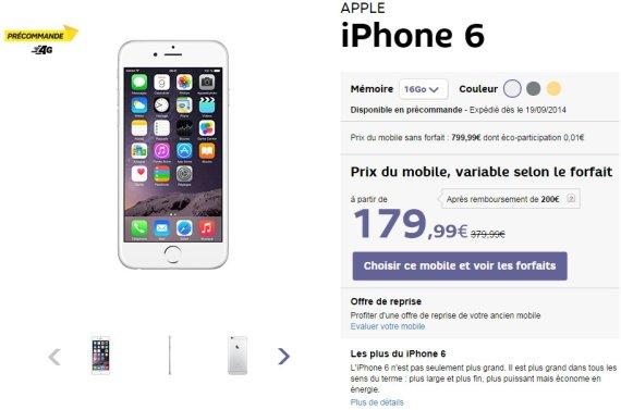 iphone 6 prix forfait sfr