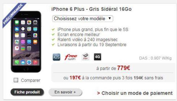 iphone 6 plus prix forfait free