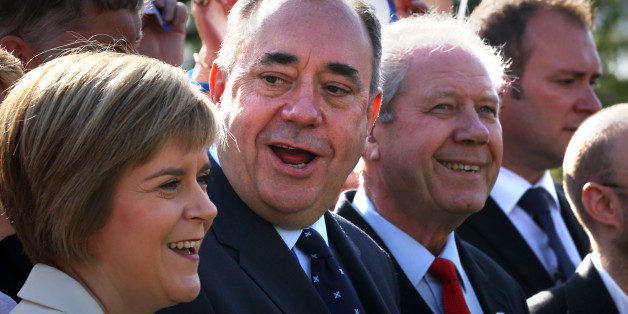 "Nicola Sturgeon, Alex Salmond and Jim Sillars talk to the press during a visit to Edinburgh campaigning as ""Team Scotland against Team Westminster""."