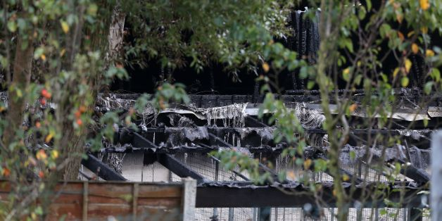 The scene at Manchester Dogs Home, Manchester, after a blaze killed more than 50 dogs.
