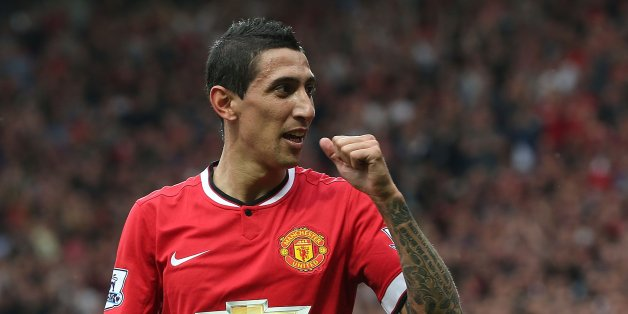 MANCHESTER, ENGLAND - SEPTEMBER 14:  Angel di Maria of Manchester United celebrates scoring their first goal during the Barclays Premier League match between Manchester United and Queens Park Rangers at Old Trafford on September 14, 2014 in Manchester, England.  (Photo by Matthew Peters/Man Utd via Getty Images)