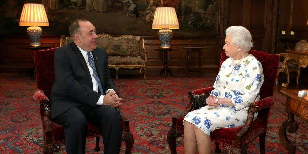 """File photo dated 1/7/2014 of Queen Elizabeth II holding an audience with Scotland's First Minister Alex Salmond at the Palace of Holyroodhouse in Edinburgh. The Queen """"will be proud"""" to be the monarch of an independent Scotland, according to Salmond."""