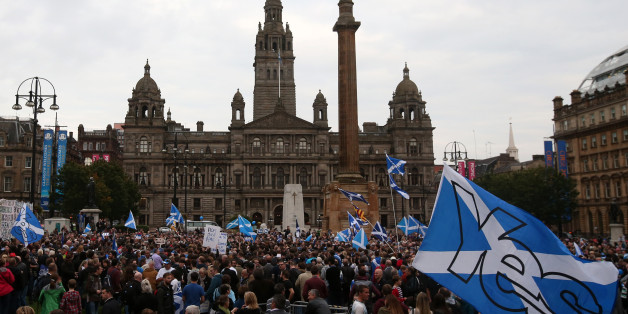 Supporters at a Yes Rally in George Square ahead of voting in the Scottish Referendum on September18th.