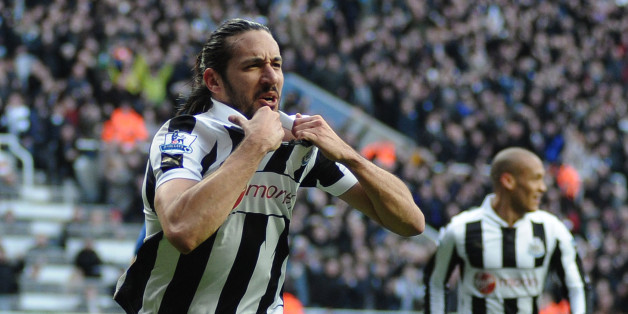 NEWCASTLE, ENGLAND - FEBRUARY 02: Jonas Gutierrez of Newcastle United celebrates scoring the opening goal during the Barclays Premier League match between Newcastle United and Chelsea at St James' Park on February 02, 2013 in Newcastle upon Tyne, England. (Photo by Serena Taylor/Newcastle United via Getty Images)