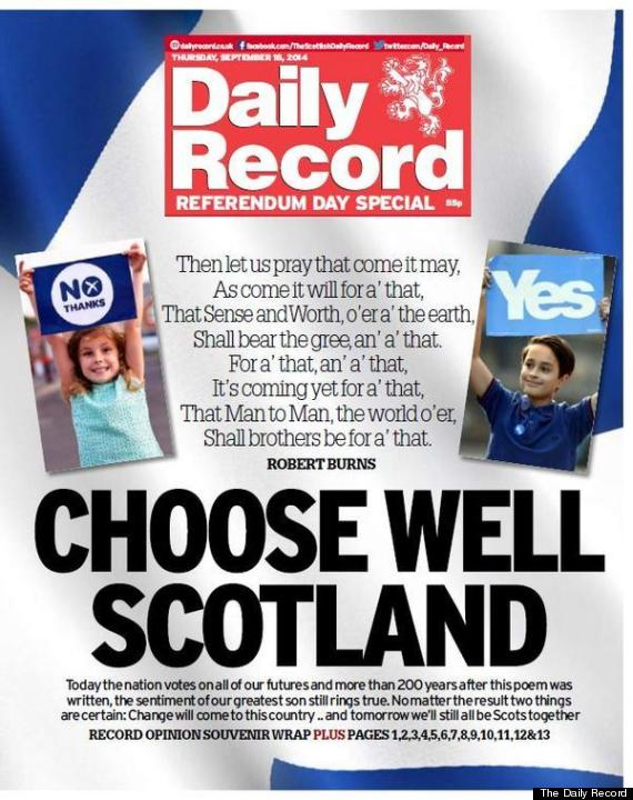 daily record front scottish independence