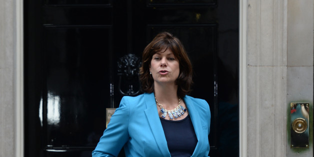 Claire Perry a junior transport minister leaves Downing Street, London, as Prime Minister David Cameron puts his new ministerial team in place.